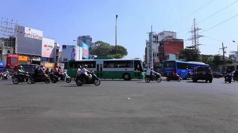 A traffic jam at the busy town in Ho Chi Minh wide shot Live Action