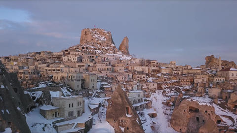 Cinematic Aerial View of Winter in Uchisar City, Cappadocia, Turkey Live Action