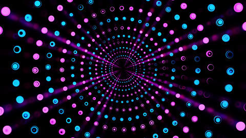 Magic rotation of a multi-colored tunnel of rotating balls Videos animados