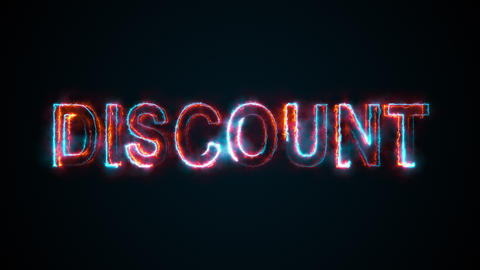 The word Discount, computer generated. Burning inscription consists of capital Animation