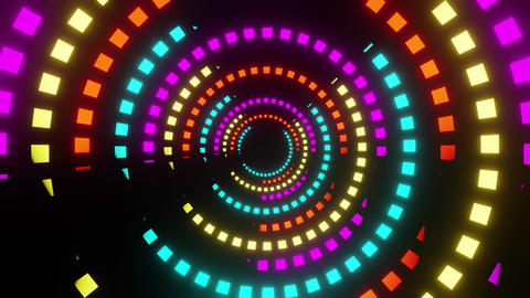 Rotation in the orbits of colored squares on a black background CG動画