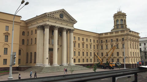 Minsk, Belarus, A group of people in front of a building Live Action