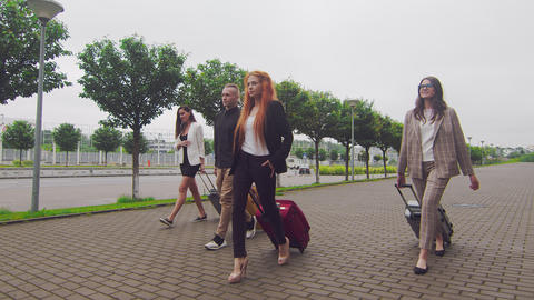 Group of tourists walking with luggage on the background of the airport terminal Live Action