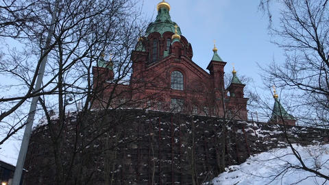 Helsinki, Finland, A church in the snow Live Action