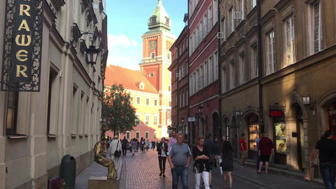 Warszawa, Poland, June 25 2017: A group of people walking on a city street Live Action