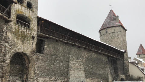 Tallinn, Estonia, An old stone building Live Action