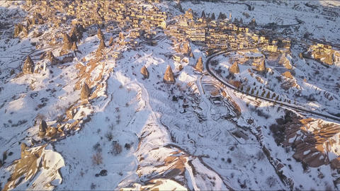 Winter Landscape in Cappadocia, Turkey. Aerial View of Uchisar City and Houses Live Action