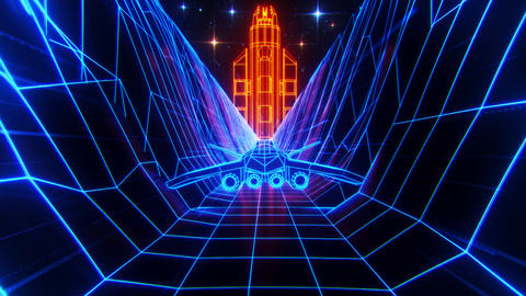 3D Retro Synthwave Spaceship VJ Loop Motion Background Videos animados