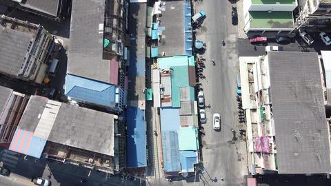 MAEKLONG, THAILAND - DECEMBER 15, 2019: Amazing aerial view of Maeklong Live Action