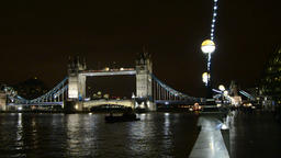 Tower bridge and river Thames at night, London Footage