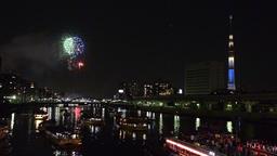 Sumidagawa River Fireworks, Tokyo, Japan Footage