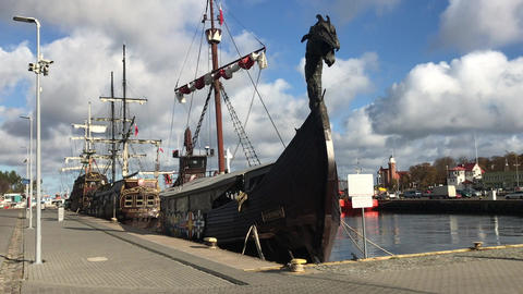 Ustka, Poland, A ship on the street Live Action