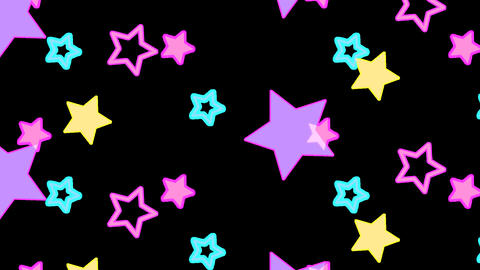 Background pattern of neon colored star shaped objects are bouncing