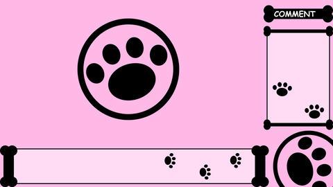 ゲーム配信背景【肉球(骨) ピンク】 CG動画