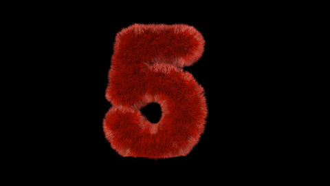 Fluffy hair fur text typography with alpha channel 5 Animation