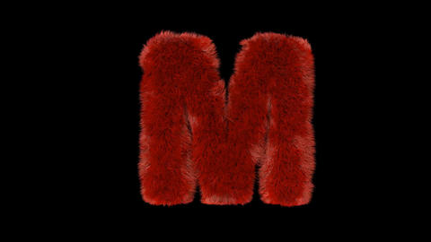 Fluffy hair fur text typography with alpha channel M Animation