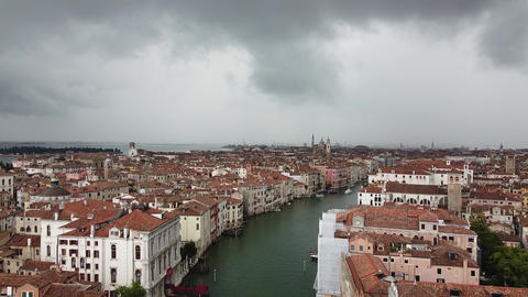 Venice - Horizon drone view in cloudy weather Live Action