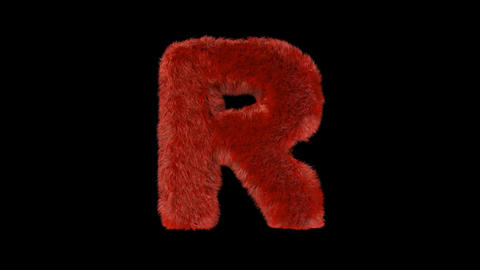 Fluffy hair fur text typography with alpha channel R Animation