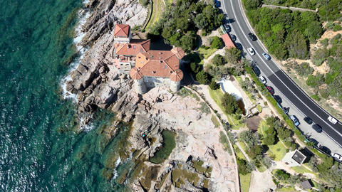 Amazing aerial view of Tuscany coastline in Calafuria area, Italy. Slow motion Live Action