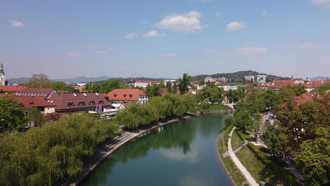 Ljubljana Slovenia, panorama flight on the city center and river Live Action
