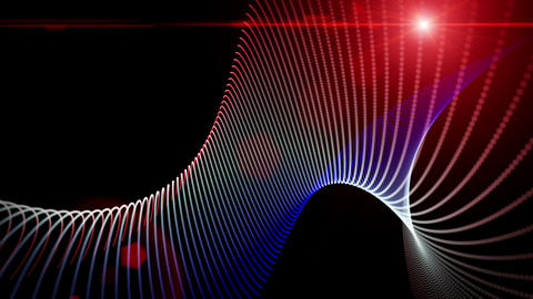 Futuristic video animation with particle stripe object and light in motion, loop HD Animation