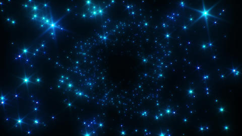 Blue Stars Flickering Abstract Endless Tunnel. Looped 3d Animation. 4k Ultra HD Live Action