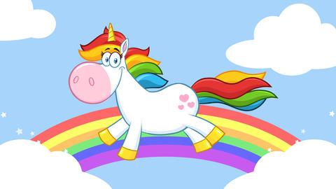 Smiling Magic Unicorn Cartoon Mascot Character Running Around Rainbow With Clouds Animation