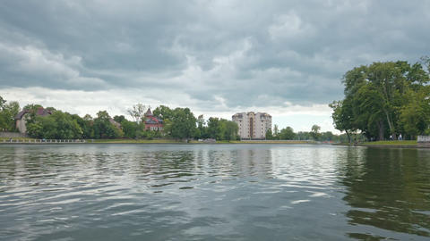 Upper Lake recreation zone in Kaliningrad, Russia Live Action