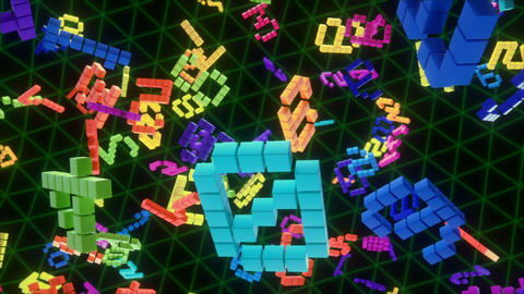 Colorful retro videogame score numbers floating in a 3d space background loop CG動画