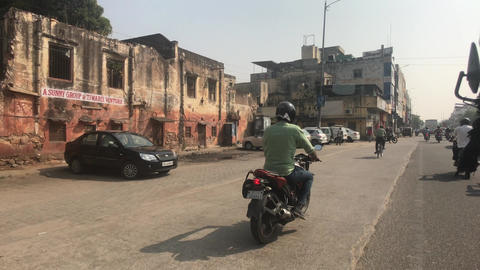 Jaipur, India - November 03, 2019: a group of motorcyclists rides on the road Live Action
