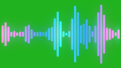 Sound waves motion graphics with green screen background Animation