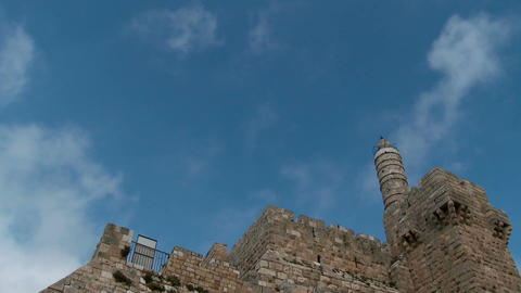 Clouds time lapse over the tower of David in old city Jerusalem Footage