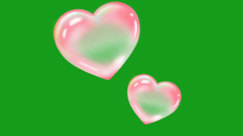 Shining hearts motion graphics with green screen background Animation