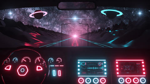 3D Retro Synthwave Car Interior View VJ Loop Motion Background Videos animados