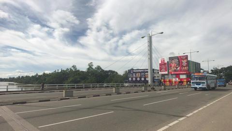 Matara, Sri Lanka, November 25, 2019, Old Tangalle Rd, traffic on the bridge Live Action