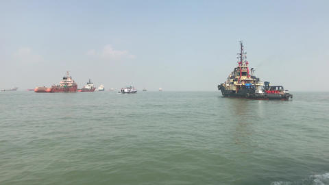 Mumbai, India - View of ships in the Arabian Sea part 15 Live Action