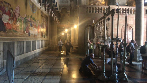 Jerusalem, Israel - October 20, 2019: tourists walk around the temple in the old Live Action
