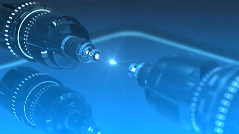 Futuristic machinery revolving and emitting a glowing particle, representing technology, industry Animation