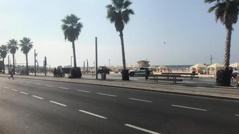 Tel Aviv, Israel - October 22, 2019: tourists walk along the promenade part 7 Live Action