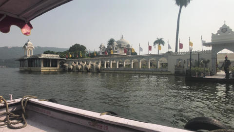 Udaipur, India - Walk on the lake Pichola on a small boat part 4 Live Action