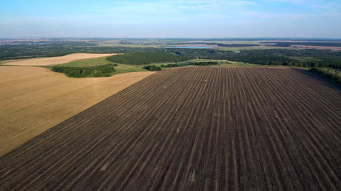 Aerial view: black plowed field, yellow field, forest, lake, town Live Action