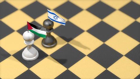 Chess Pawn with country flag, Palestine, Israel Animation