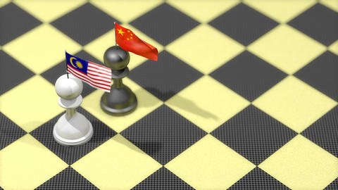 Chess Pawn with country flag, China, Malaysia Animation