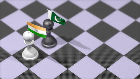 Chess Pawn with country flag, India, Pakistan Animation