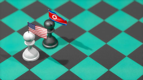 Chess Pawn with country flag, United states, North Korea Animation