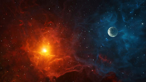 Space background. Fly through colorful nebula with planet. Elements furnished by NASA. 3D rendering GIF