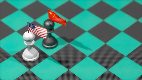 Chess Pawn with country flag, United States, China Animation