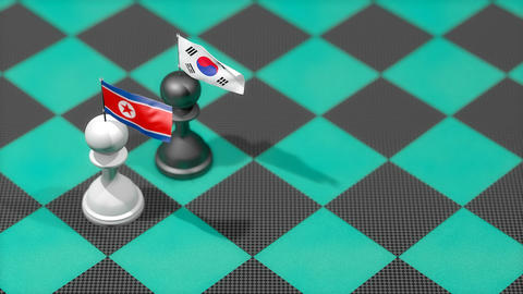 Chess Pawn with country flag, North Korea, South Korea Animation