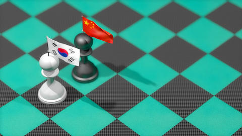 Chess Pawn with country flag, South Korea, China Animation