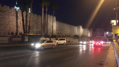 Jerusalem, Israel - October 20, 2019: tourists walk around the night city part Live Action